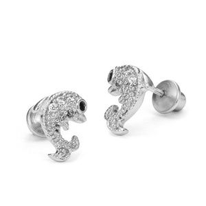 Other - Sterling Silver Rhodium Plated Dolphin Earrings